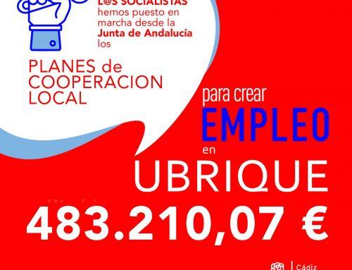 El gobierno del PSOE en la Junta de Andalucía, destina 483.210,07 € para empleo en Ubrique